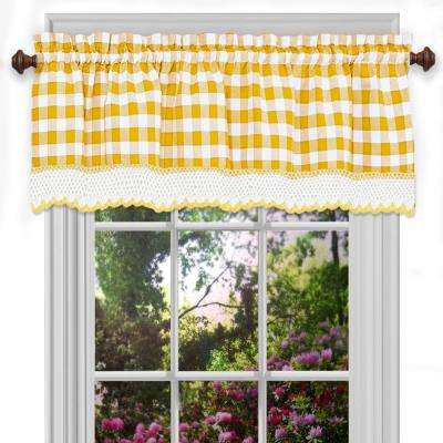 Buffalo Check Polyester/Cotton Valance in Yellow - 58 in. W x 14 in. L