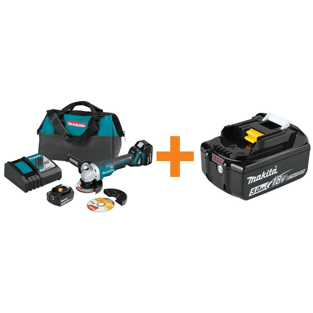 Makita 18-Volt 5.0 Ah LXT Brushless 4-1/2 in./5 in. Paddle Switch Angle Grinder Kit with Bonus 18-Volt LXT Battery Pack 5.0 Ah