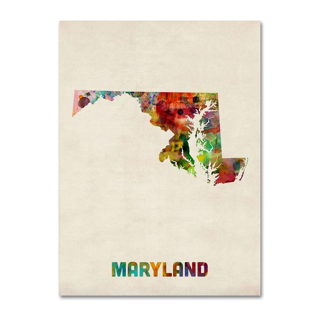 Trademark Fine Art 18 in. x 24 in. Maryland Map Canvas Art