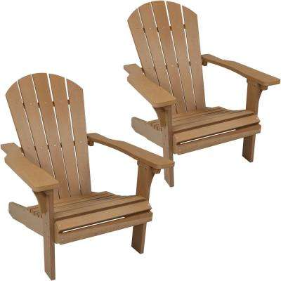 All-Weather Brown Patio Plastic Adirondack Chair (Set of 2)