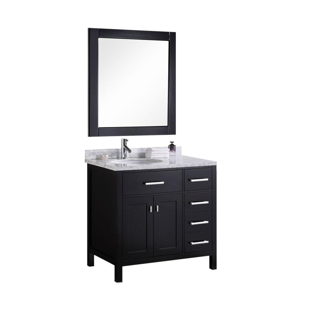 Design Element London 36 in. W x 22 in. D Vanity in Espresso with Marble Vanity Top and Mirror in Carrara White