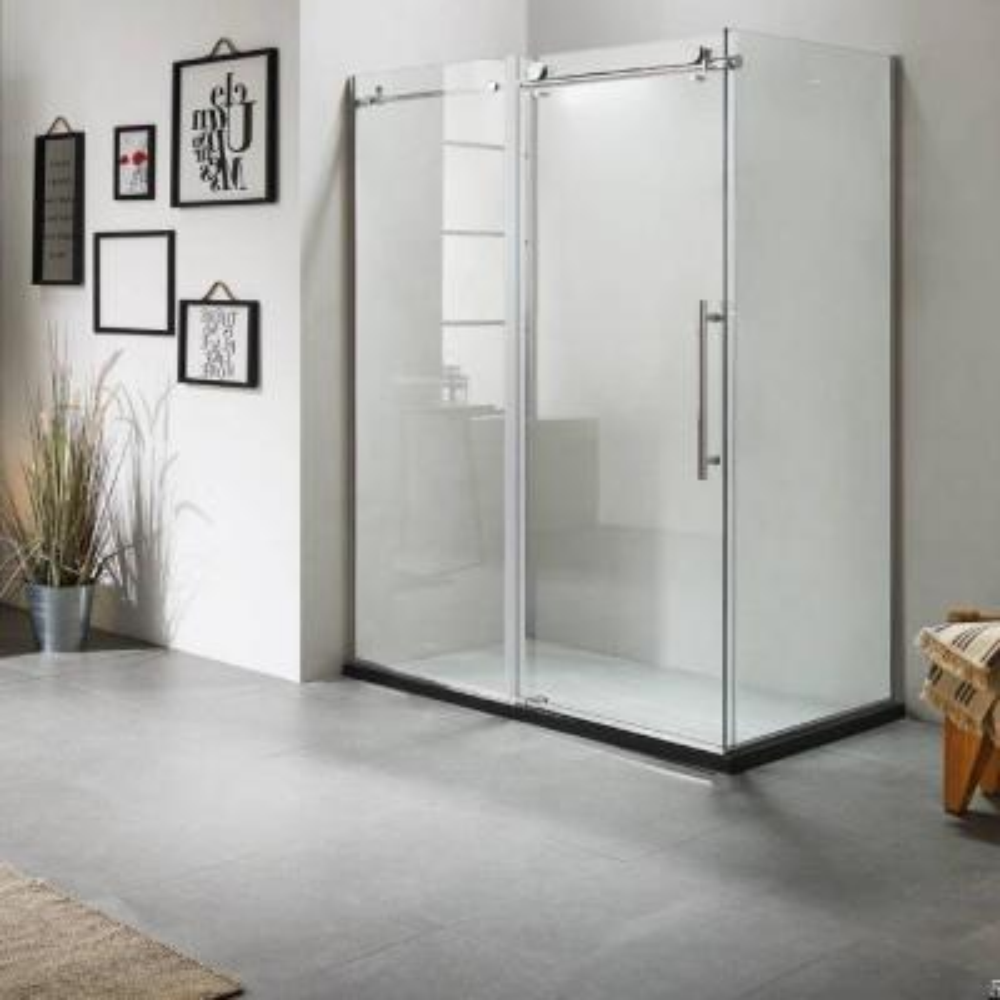 60 in. x 79 in. x 40 in. Luxury Frameless Sliding Shower Door Kit in Stainless Steel