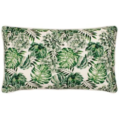 Botanical White and Green Floral Down 14 in. x 24 in. Throw Pillow