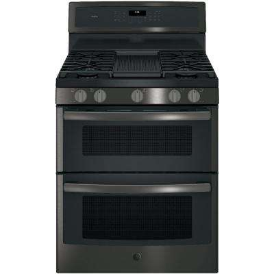 Profile 30 in. 6.8 cu. ft. Double Oven Gas Range with Self-Cleaning in Black Stainless Steel, Fingerprint Resistant