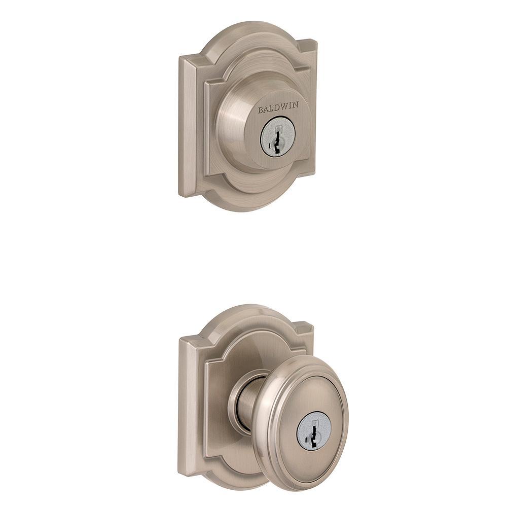 Prestige Carnaby Satin Nickel Exterior Entry Knob and Single Cylinder Deadbolt