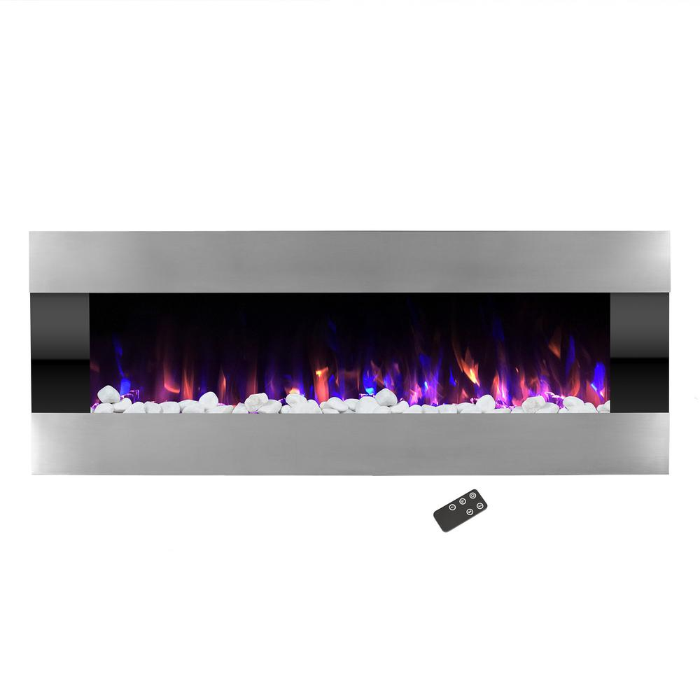 54 in. Stainless Steel Electric Fireplace with Wall Mount and Remote