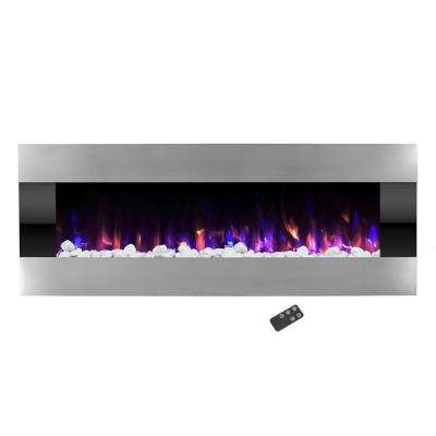 54 in. Stainless Steel Electric Fireplace with Wall Mount and Remote in Silver