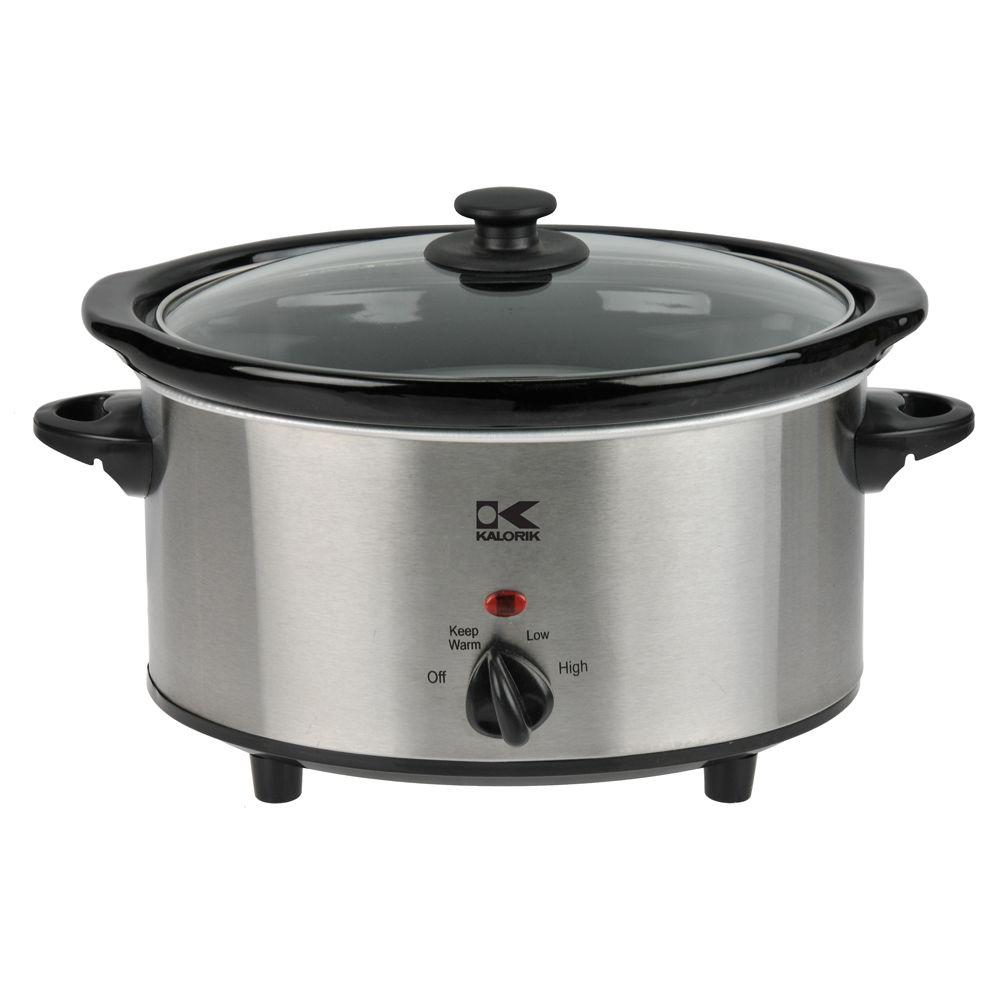 KALORIK 3.7 qt. Oval Slow Cooker in Stainless Steel-DISCONTINUED