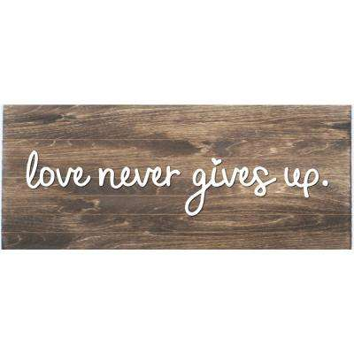 Love Never Gives Up Slat Board, BROWN/WHITE LETTERS, Memo Board