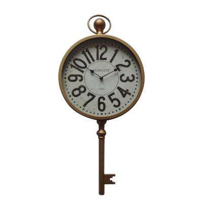 Time Key Antique Gold Analog Wall Clock