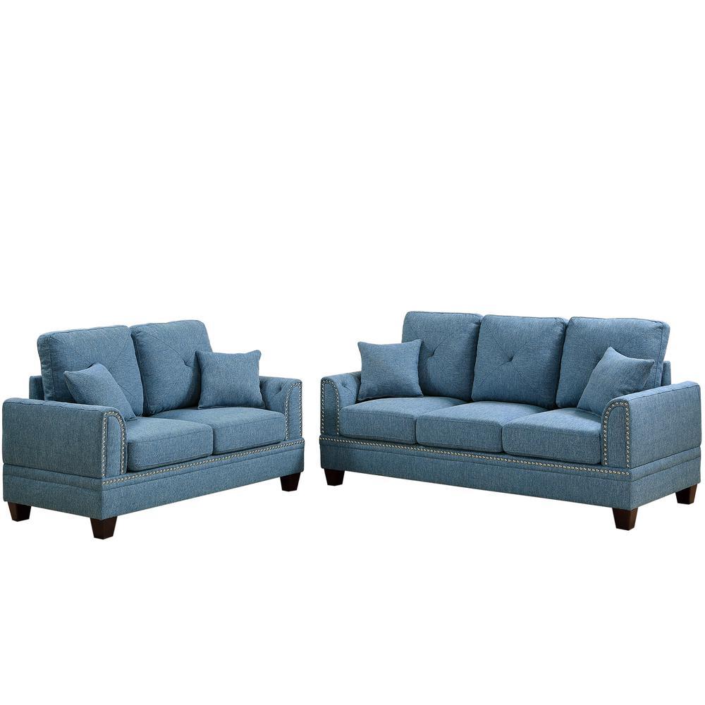 Venetian Worldwide Majella 2 Piece Blue Sofa Set