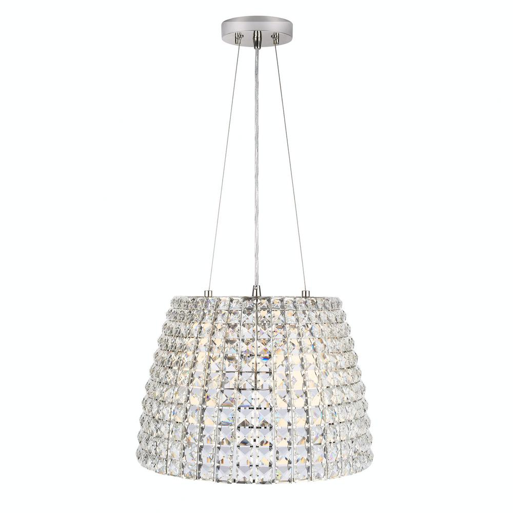HomeDecoratorsCollection Home Decorators Collection Beatrice 3-Light 16 in. Polished Nickel Crystal Pendant