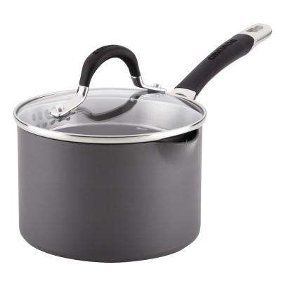 Momentum Hard-Anodized 2 Qt. Gray Covered Straining Non-Stick Saucepan with Pour Spouts