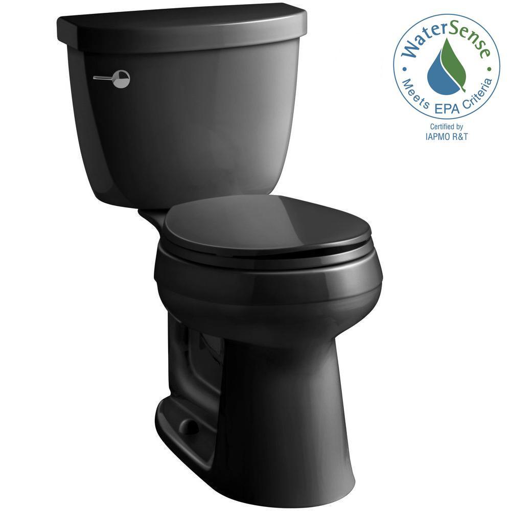 KOHLER Cimarron Comfort Height 2-piece 1.28 GPF Round Toilet with AquaPiston Flush Technology in Black Black