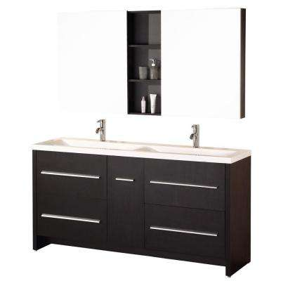 Perfecta 72 in. W x 20 in. D Vanity in Espresso with Acrylic Vanity Top and Mirror in White