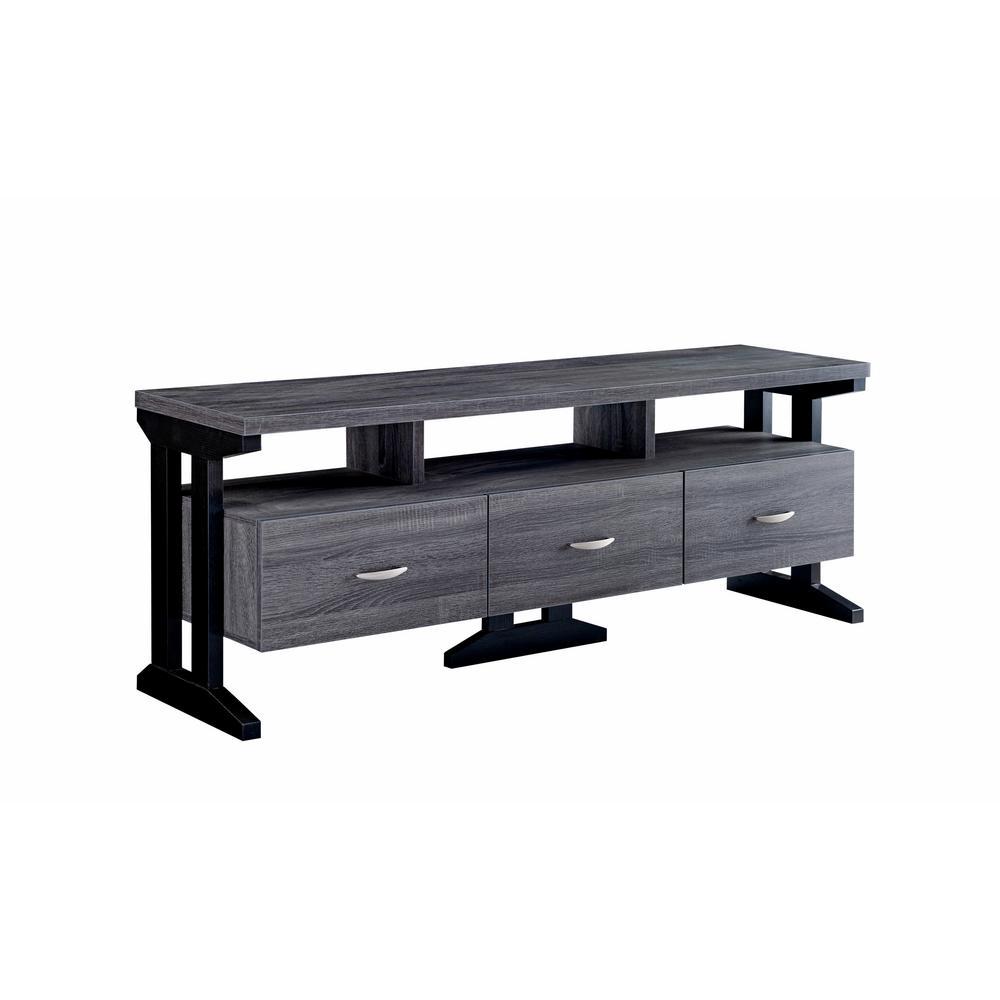 Brassi Dark Gray 60 in. 3-Drawer TV Stand