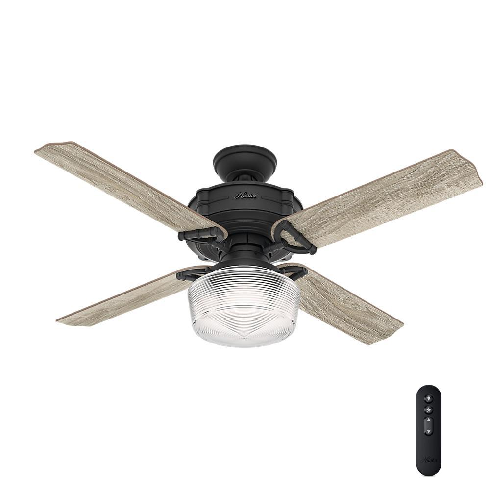 Hunter Brunswick 52 In Led Indoor Natural Iron Ceiling Fan With Globe Light Kit And Handheld