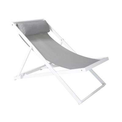 Wave White Powder Coated Aluminum Outdoor Patio Lounge Chair with Grey Sling Textilene