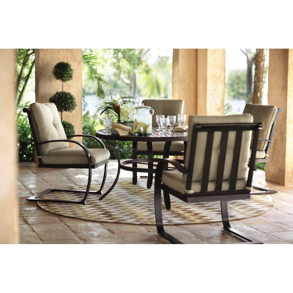 Home Decorators Collection Abbot Woodgrain Outdoor 5-Piece Patio Dining Set