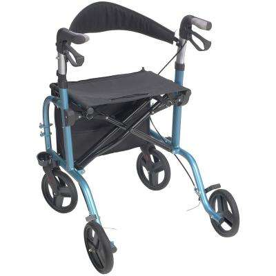 4-Wheel Premium Transport Chair Rollator in Metallic Blue