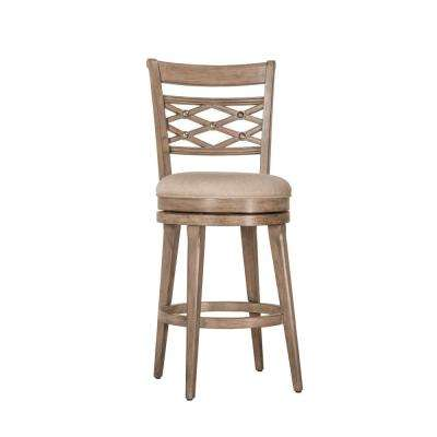 Chesney 30 in. Weathered Gray Swivel Cushioned Bar Stool