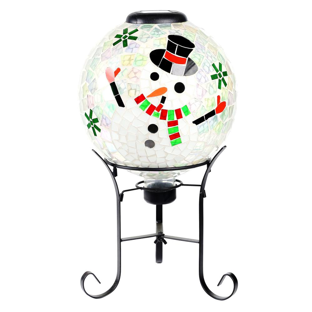 17 in. Tall Solar Mosaic Snowman Gazing Globe with Metal Stand