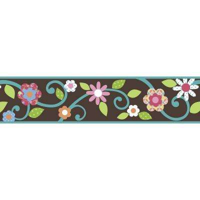 Brown/Teal Scroll Floral Peel and Stick Wallpaper Border