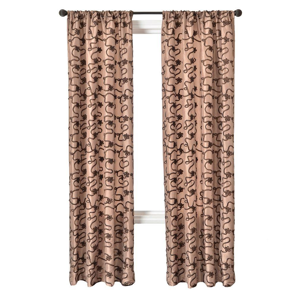 Home Decorators Collection Sheer Latte/Chocolate Bliss Rod Pocket Curtain - 54 in.W x 96 in. L