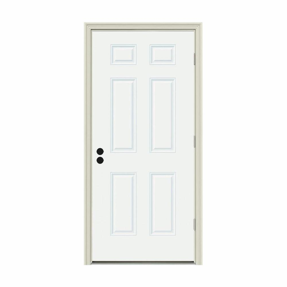Jeld Wen 32 In X 80 In 6 Panel White Painted Steel Prehung Left Hand Outswing Front Door W Brickmould Thdjw166100128 The Home Depot