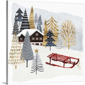 Greatbigcanvas 24 In X 24 In Retro Christmas I By June Erica Vess Canvas Wall Art 2561168 24 24x24 The Home Depot