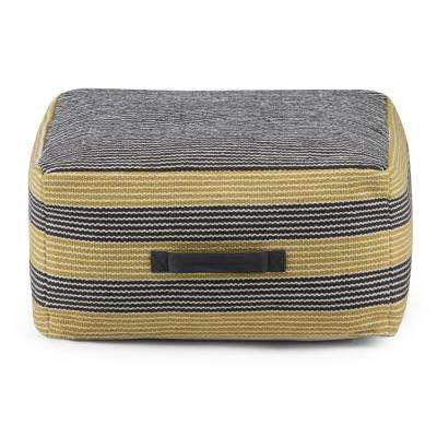 Keller Patterned Grey and Yellow Square Pouf