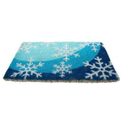 Basic Coir, Snow Flakes, 18 in. x 30 in. Coconut Husk Door Mat