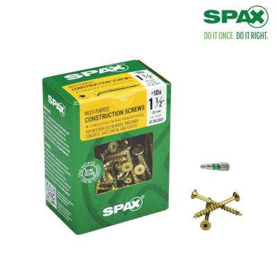 #10 x 1-1/2 in. T-Star Drive Flat Head Partial Thread Yellow Zinc Coated Screw (135 per Box)