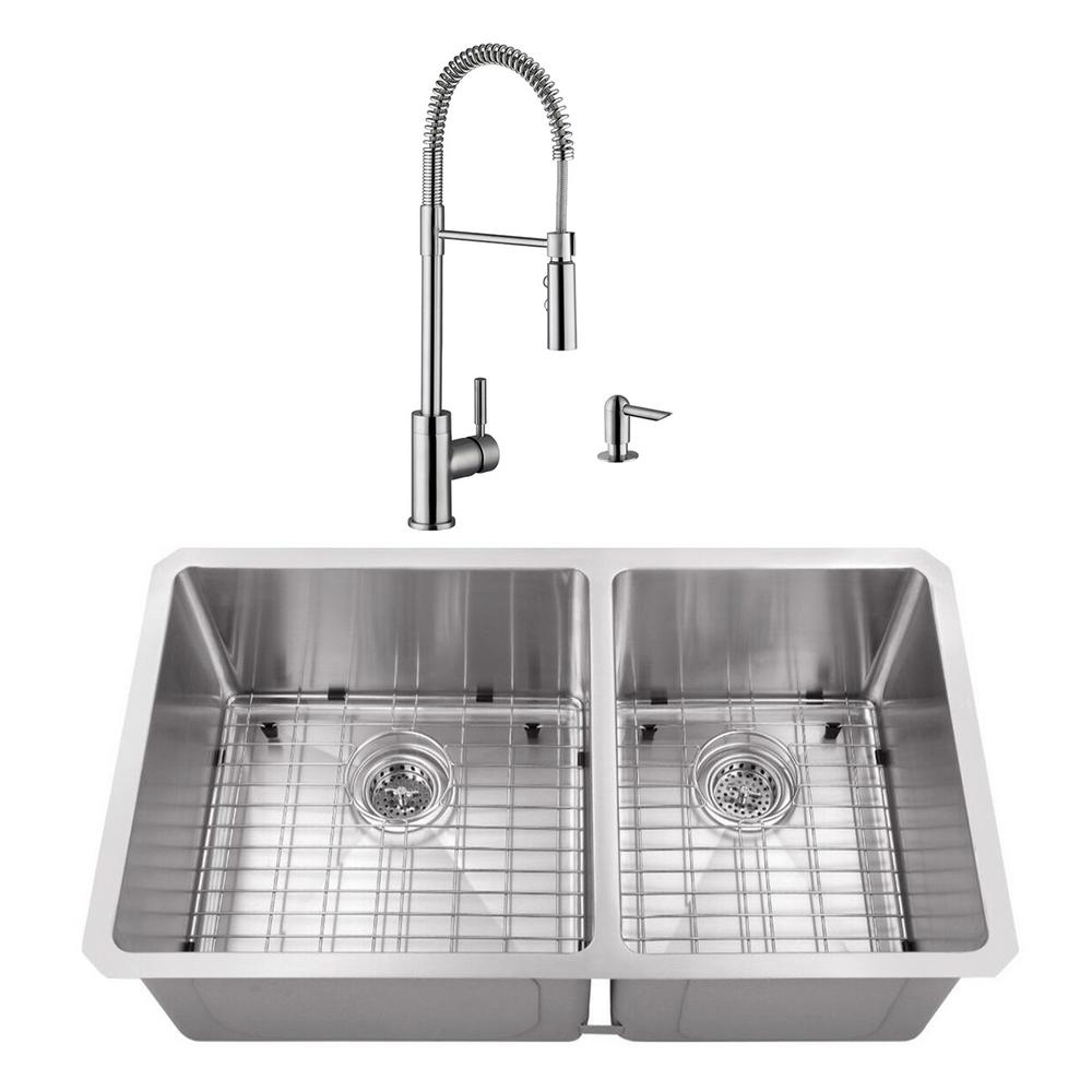 Cahaba Undermount Stainless Steel 32 in. 60/40 Double Bowl Kitchen on copper bowl sink, hammered copper farmhouse sink, 24 bathroom vanity with sink, cast iron undermount double sink, 24 x 16 sink, 70 30 undermount stainless steel sink,