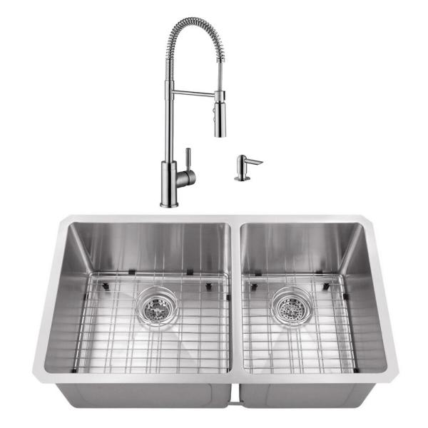 Cahaba Undermount Stainless Steel 32 In 60 40 Double Bowl Kitchen Sink With Brushed Nickel Faucet Casc0077 The Home Depot