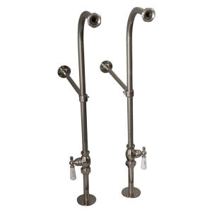 Barclay Products 1/2 inch x 1 ft. Brass Freestanding Bath Supplies with Stops Porcelain Lever Handles in Polished Nickel by Barclay Products