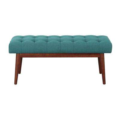 Andy Mid Century Teal Tufted Ottoman