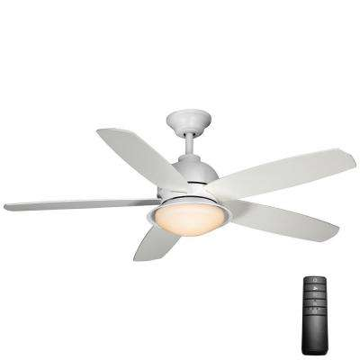 White outdoor ceiling fans lighting the home depot led indooroutdoor matte white ceiling fan with light kit and aloadofball Image collections