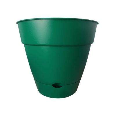 Newbury 16 in. x 16 in. Cadmium Green Plastic Self-Watering Poly Planter