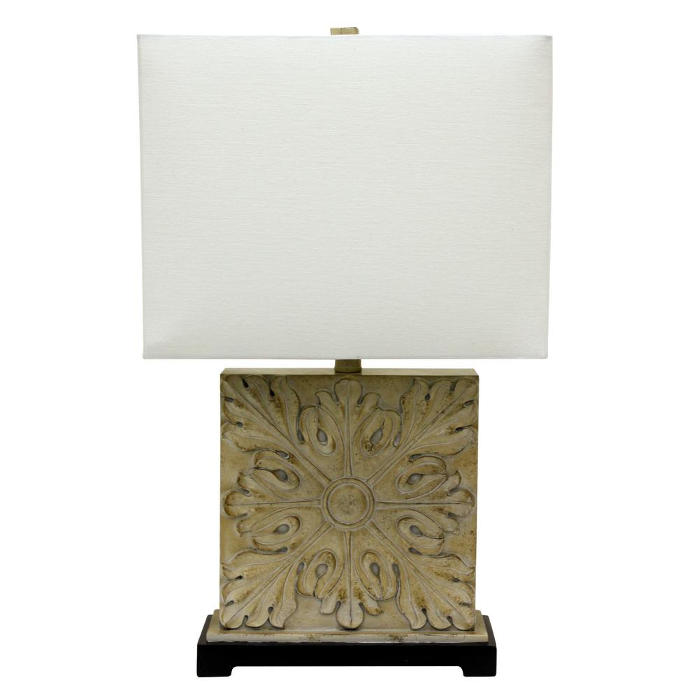 Carved 26 in. Cream and Black Table Lamp with Linen Shade