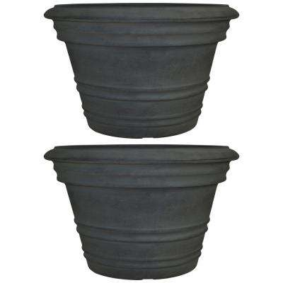 16 in. Copper Victoria Poly Flower Pot Planter (2-Pack)