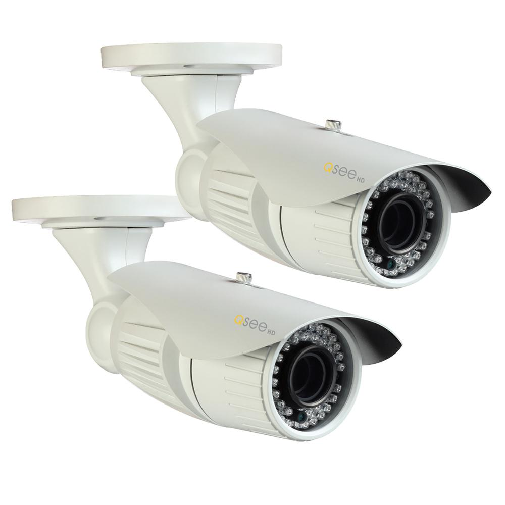 Wired 1080p HD Indoor Outdoor Bullet Camera with Auto-Focus (2-Pack)