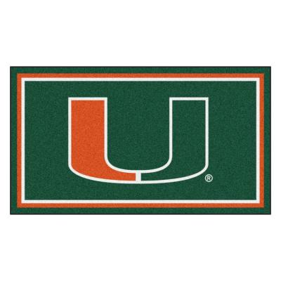 NCAA University of Miami 3 ft. x 5 ft. Ultra Plush Area Rug
