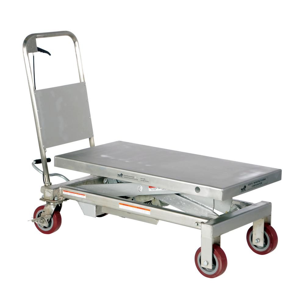 1,750 lb. 20 in. x 39 in. Stainless Steel Elevating Cart