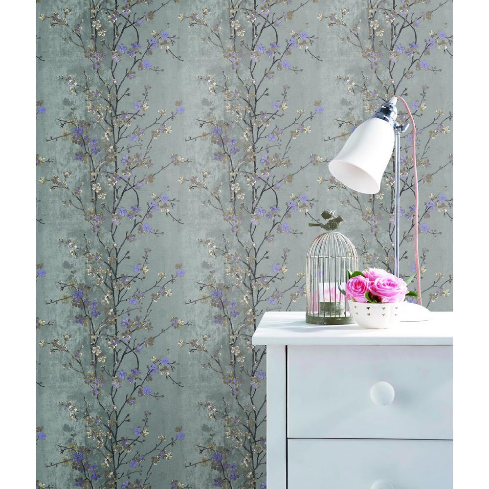 Falkirk Ophia White Purple Grey Flowers On Tree Vinyl