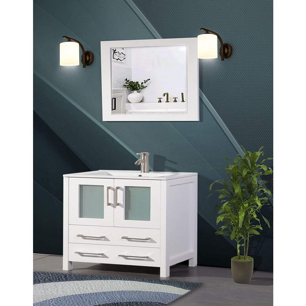 Brescia 36 in. W x 18 in. D x 36 in. H Bathroom Vanity in White with Single Basin Vanity Top in White Ceramic and Mirror