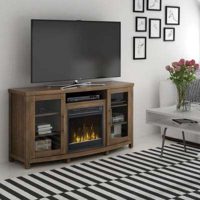 Rossville 60 in. Media Console Electric Fireplace in Stanton Birch Brown