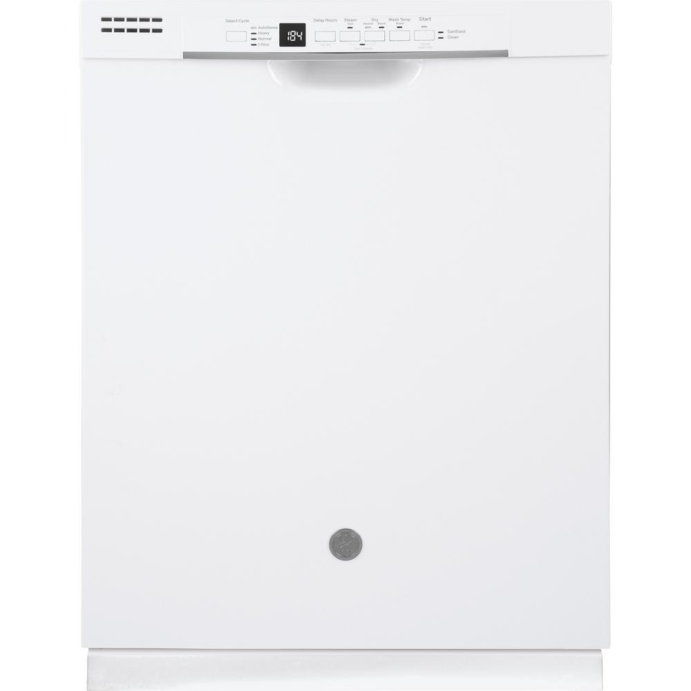 GE 24 in. Front Control Built-In Tall Tub Dishwasher in White with Steam Prewash, 54 dBA
