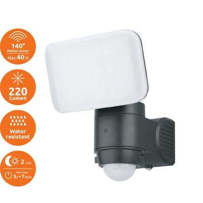 Black 220-Lumen Motion Activated Outdoor Integrated LED 6500K Battery Powered Landscape Flood Light