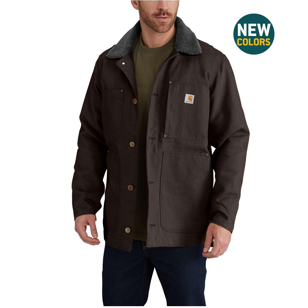 c4382245888b Carhartt Men s Tall Large Dark Brown Cotton Full Swing Chore Coat ...